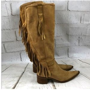 Bronx suede fringe western pointy boots size 6